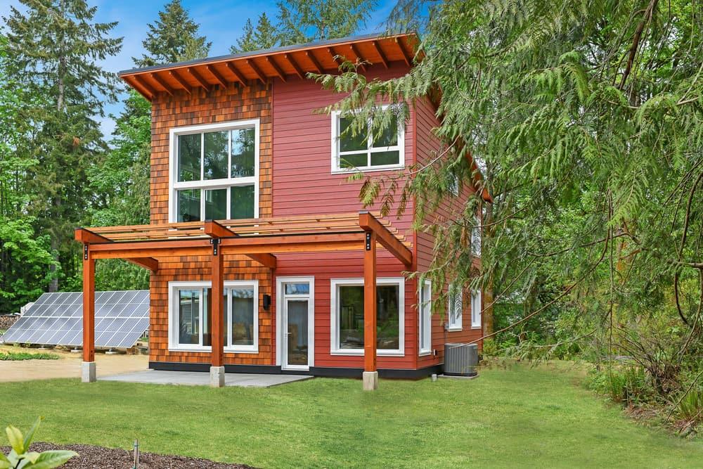 red siding and cedar shake house exterior